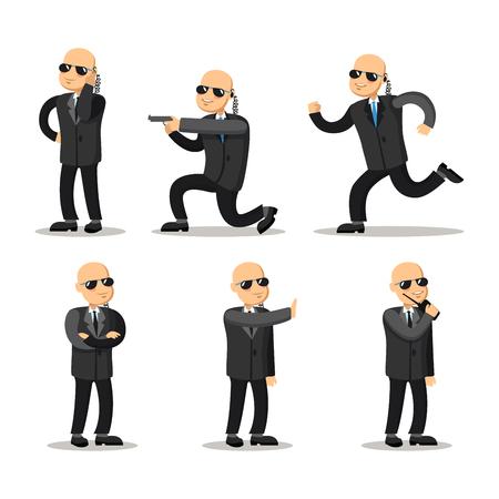 Cartoon Professional Safeguard Man. Security Guard