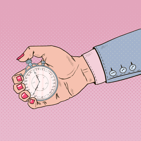 Female Hand Holding Stopwatch. Time Management. Pop Art retro illustration Banco de Imagens