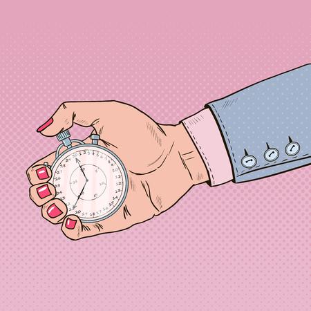 Mano femenina que sostiene el cronómetro. Gestión del tiempo. Ilustración retro del arte pop Foto de archivo - 75100045