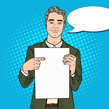Young Businessman Pointing at Blank Sheet. Business Presentation. Pop Art Vector illustration