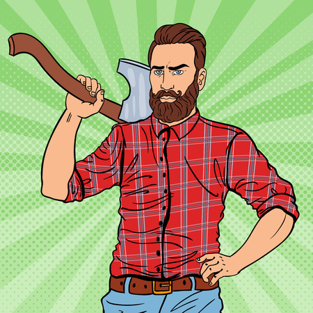 Brutal Hipster Lumberjack with Beard and Axe. Woodcutter Worker. Pop Art vintage illustration Stock Photo