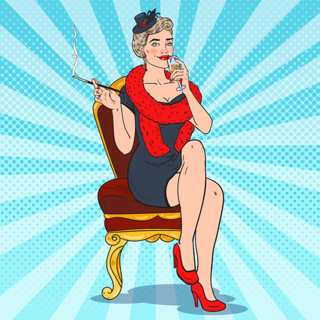 Beautiful Smoking Woman with Glass of Champagne. Femme fatale. Pop Art Retro illustration