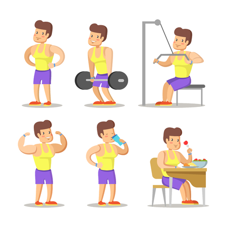 Strong Man Cartoon. Body Builder in Gym. Healthy Lifestyle