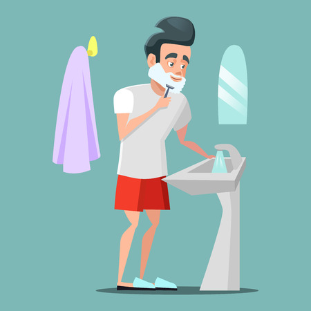 Man Shaving Face with Foam. Skin Care. Vector cartoon illustration
