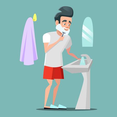 Man Shaving Face with Foam. Skin Care. Vector cartoon illustration