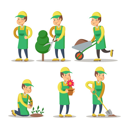 Cartoon Gardener Planting Plant. Gardening. Vector illustration