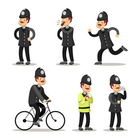 bobby: English Policeman Cartoon. Police Officer. Vector illustration