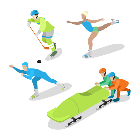 bobsled: Hockey Player, Figure Skating and Bobsled. Winter Sports. Isometric vector flat 3d illustration