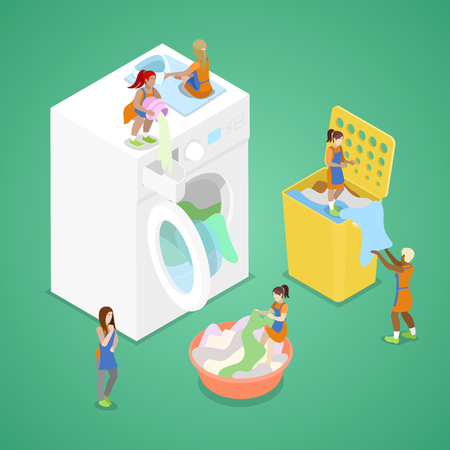 Miniature People Washing Clothes. Laundry Service. Isometric vector flat 3d illustration