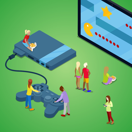 Miniature People Playing Video Games on Console. Gaming Technology. Isometric vector flat 3d illustration Illustration
