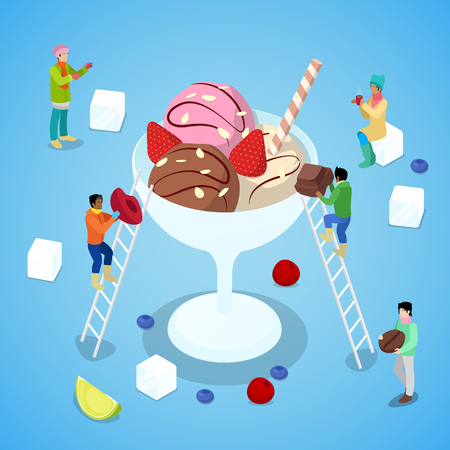 Miniature People Making Ice Cream with Chocolate and Strawberry. Isometric vector flat 3d illustration