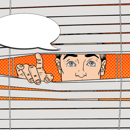 snooping: Man Looking Through the Blinds. Pop Art Vector retro illustration