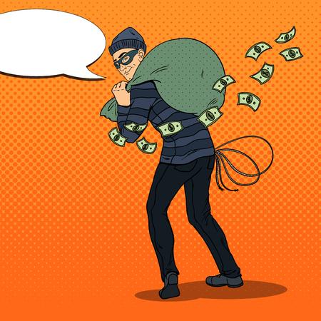 Thief in Black Mask with Money Bag. Pop Art retro vector illustration