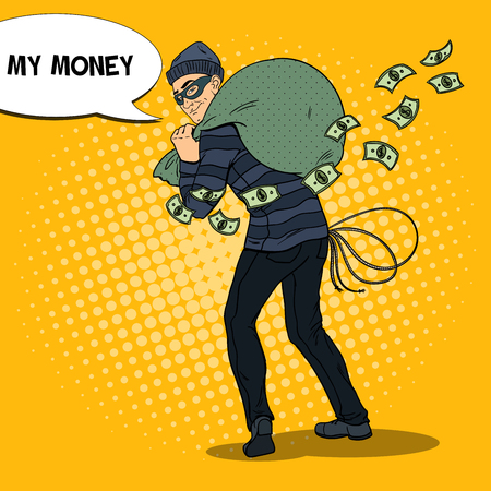 Criminal Bandit with Money Bag. Pop Art retro vector illustration Çizim