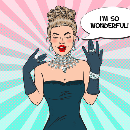 earrings: Pop Art Wonderful Woman in Black Dress with Diamond Jewelry. Vector illustration Illustration