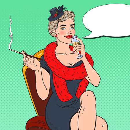 femme fatale: Pop Art Woman in Fur with Glass of Champagne. Femme fatale. Retro vector illustration