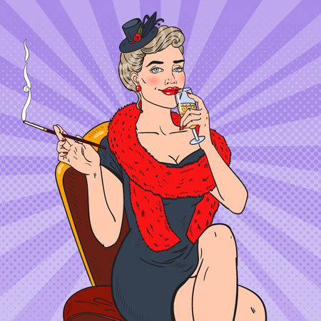 Pop Art Smoking Woman with Glass of Champagne. Femme fatale. Retro vector illustration