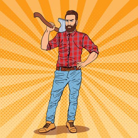 Lumberjack mit Bart und Ax. Holzfällers Worker. Pop-Art-Jahrgang Vektor-Illustration Standard-Bild - 75404151