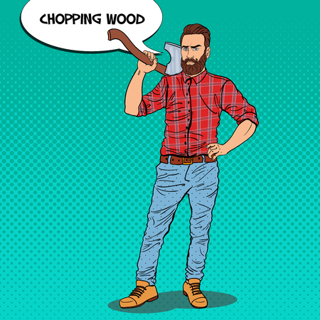 Woodcutter with Beard and Axe. Lumberjack Worker. Pop Art vintage vector illustration