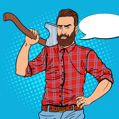 Brutal Lumberjack with Beard and Axe. Woodcutter Worker. Pop Art vintage vector illustration Illustration