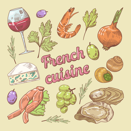 French Cuisine doodle with Wine and Cheese. Hand drawn vector illustration