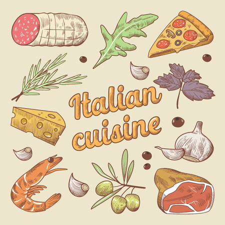 Italian Cuisine Doodle with Pizza, Cheese and Meat. Hand drawn vector illustration