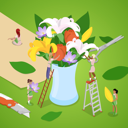 A Miniature People Making Bouquet of Flowers. Florist Shop. Isometric vector flat 3d illustration Illustration