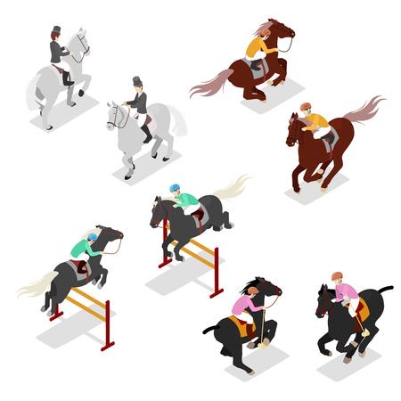 Sport Equestre - Polo, Dressage, Contest. Uomo sul cavallo. Illustrazione flat 3d vettoriale isometrica Archivio Fotografico - 75534375