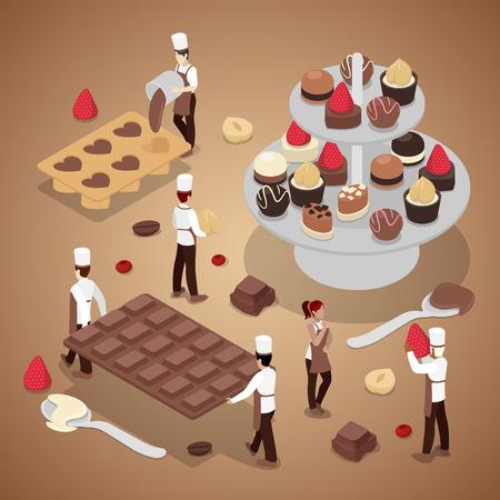 Gente Haciendo Caramelos De Chocolate. Producción de alimentos dulces. Isométrica vector plana 3d ilustración Foto de archivo - 75534376
