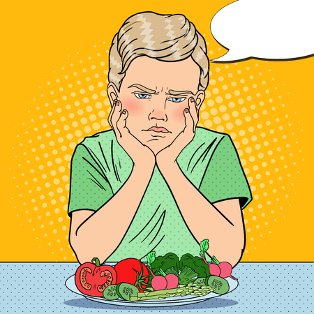 Upset Boy with Plate of Fresh Vegetables. Healthy Eating. Pop Art retro vector illustration Illustration