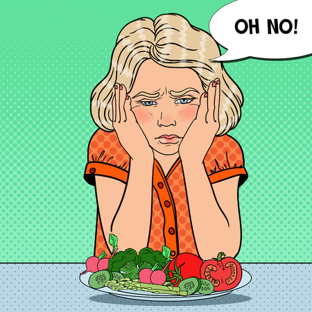 Upset Child with Plate of Fresh Vegetables. Healthy Eating. Pop Art retro vector illustration