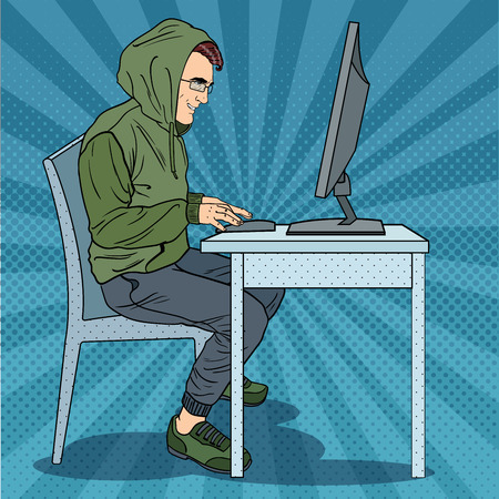 Hacker Hooded Man Stealing Information from Computer. Cyber Crime. Pop Art retro vector illustration Illustration