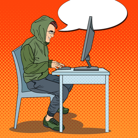 Hacker Hooded Man Stealing Data from Computer. Cyber Crime. Pop Art retro vector illustration