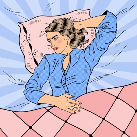 Femme ayant une nuit sans sommeil. Insomnie. Pop Art rétro illustration vectorielle Banque d'images - 75534444