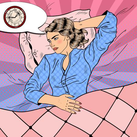 Joven con insomnio acostado en la cama. Pop Art retro ilustración vectorial