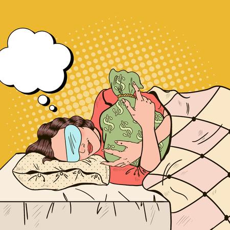 Mujer de negocios durmiendo en la cama con bolsa de dinero. Ilustración vectorial de arte pop retro Foto de archivo - 75534446