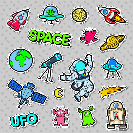 Space, UFO, Robots en Aliens Badges, Patches en Stickers. Vector illustratie