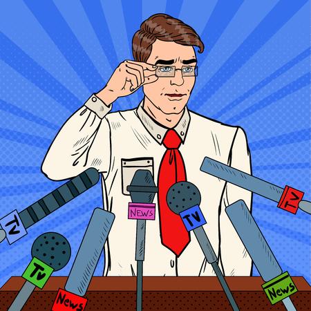 Confident Man Giving Press Conference. Mass Media Interview. Pop Art Vector illustration Illustration