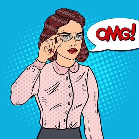 concerned: Worried Business Woman in Eyeglasses. Pop Art Vector illustration