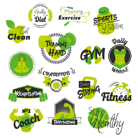 Fitness and Gym Hand Drawn Logos. Healthy Lifestyle. Vector illustration