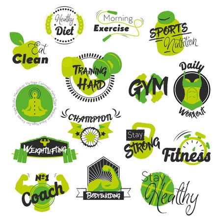 Fitness en Gym Hand getrokken logo's. Gezonde levensstijl. Vector illustratie Stock Illustratie