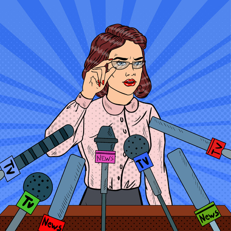 Confident Business Woman on Press Conference. Mass Media Interview. Pop Art Vector illustration