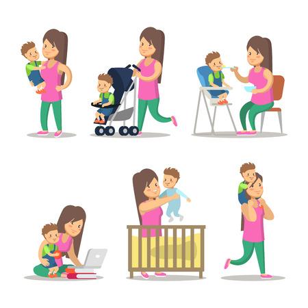 Cartas felices de la madre y del hijo. Maternidad y Crianza. Vector ilustración de personajes