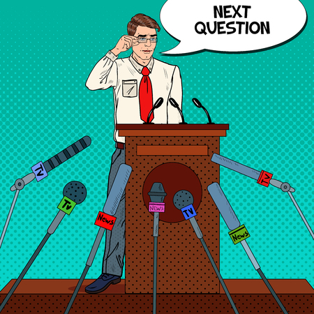 Pop Art Business Man Giving Press Conference. Mass Media Interview. Vector illustration