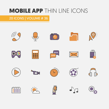 icons: Mobile Application Linear Thin Line Vector Icons Set with Smartphone and Mobile Services Illustration