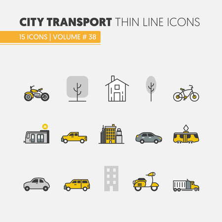 City Transportation Linear Thin Vector Icons Set with Tram Bus and Taxi
