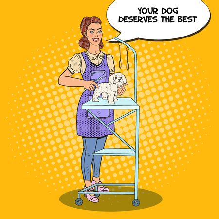 Dog Grooming. Professional Groomer with Scissors. Pop Art Vector illustration Reklamní fotografie - 76138069