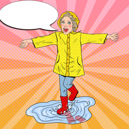 Happy Girl in Rubbers Running on Puddles after Rain. Vector retro illustration