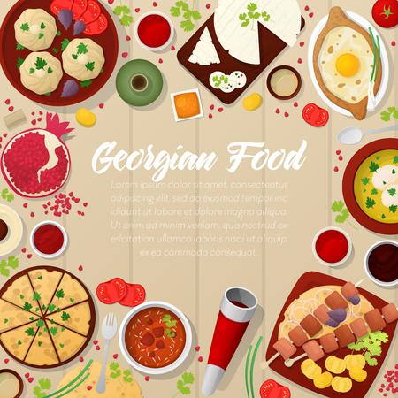 georgian: Georgian Cuisine Traditional Food with Khachapuri. Vector illustration