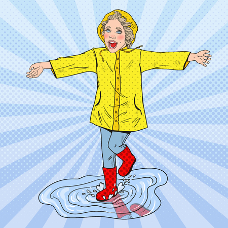 Niña feliz corriendo en charcos después de la lluvia. Vector ilustración retro